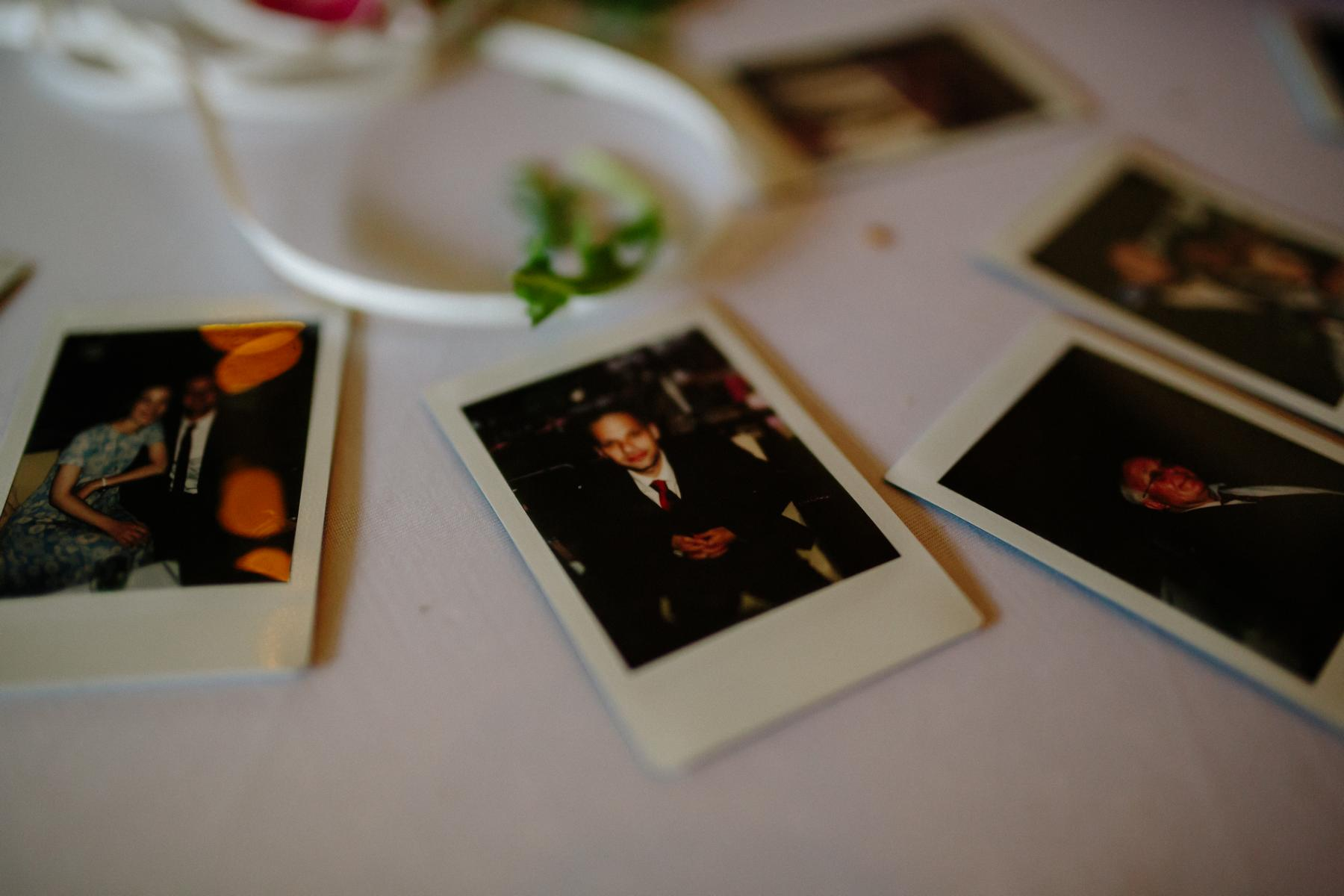 Instax Mini pictures taken at a wedding reception in Berlin