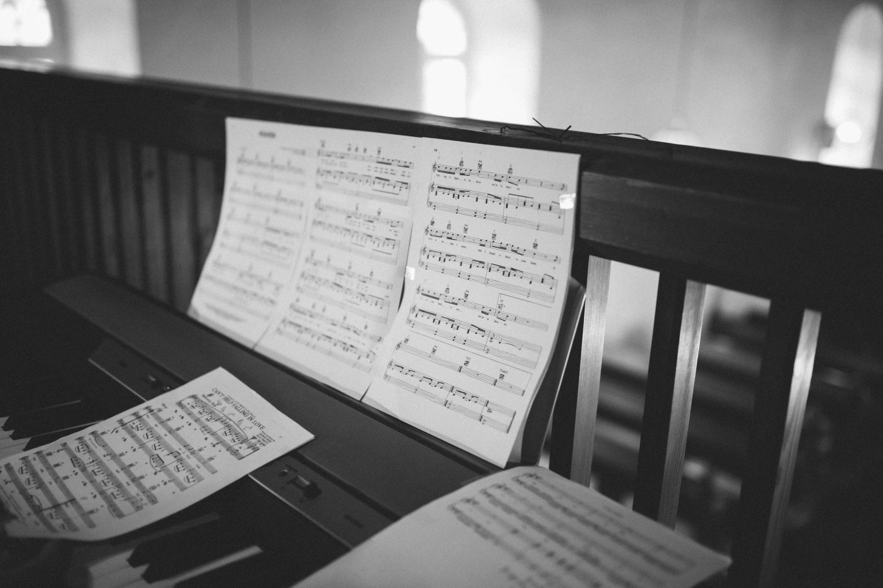 music sheets in the church in Berlin